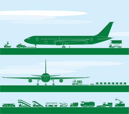 tarmac: Airport and work vehicle Illustration