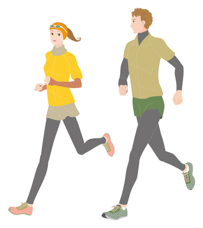 beauty smile: Men and women to be running Illustration