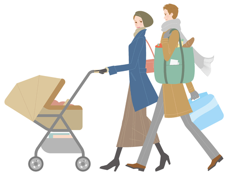 walk: Young couple pushing a stroller. Winter Illustration