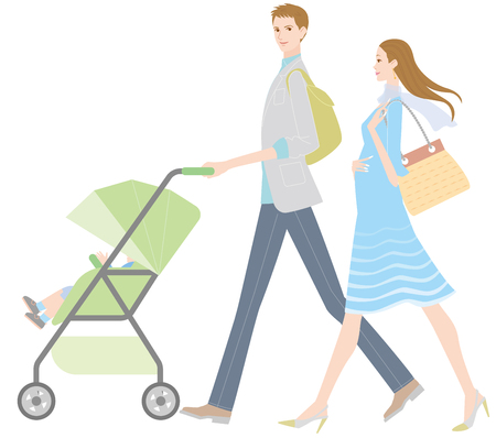 Young couple pushing a stroller