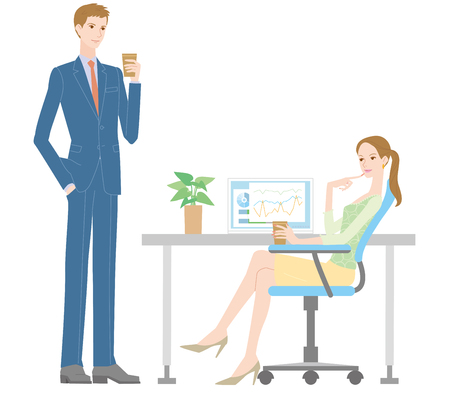 woman speaking: Men and women to talk in the office