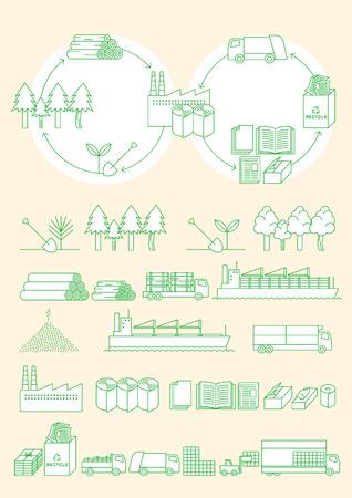 紙リサイクル イメージ  イラスト・ベクター素材
