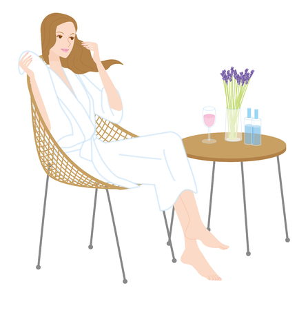woman in bath: bath time. Woman to relax Illustration