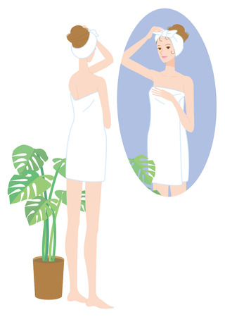 beauty smile: Bath time. Women who look in the mirror Illustration