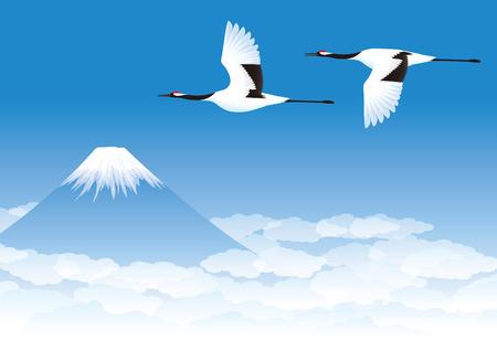 Cranes and mountain Stock Illustratie