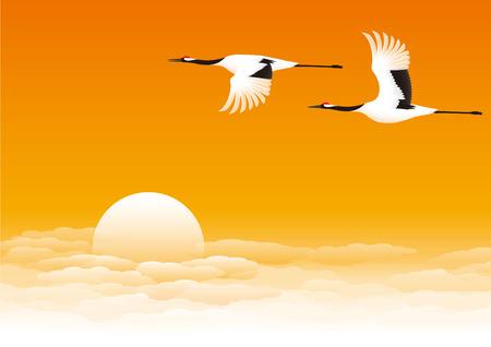 Crane and sunrise Ilustração