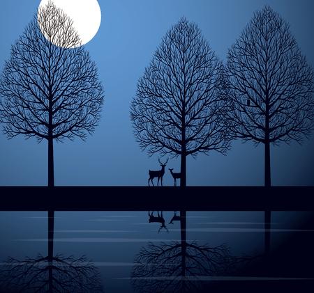 moon  owl  silhouette: Moonlit night and deer Illustration