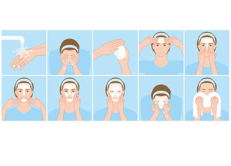 男性は、顔を洗う