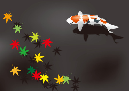 garden pond: tumn leaves and colored carp. Illustration