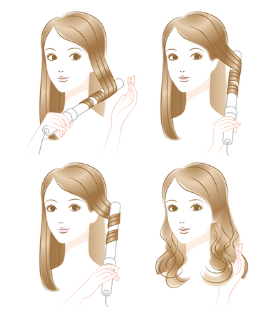 curling irons: Woman hair blow Illustration