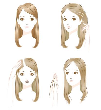Włosy kłopotów. Szare włosy. Rzednące włosy. Wypadanie włosów Ilustracje wektorowe