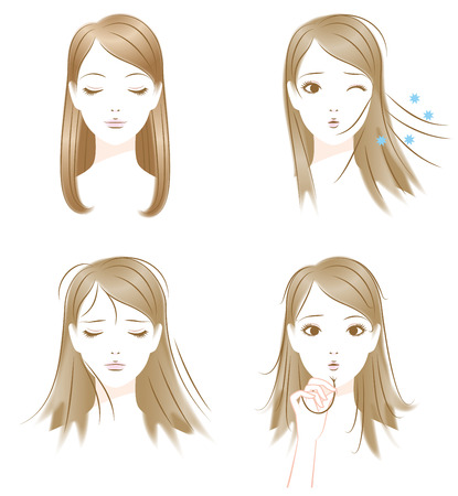 electricity: Hair of trouble. Static electricity. Drying. Split ends Illustration