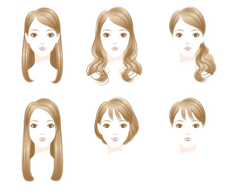 long straight hair: Hair style. Long Hair. short hair Illustration