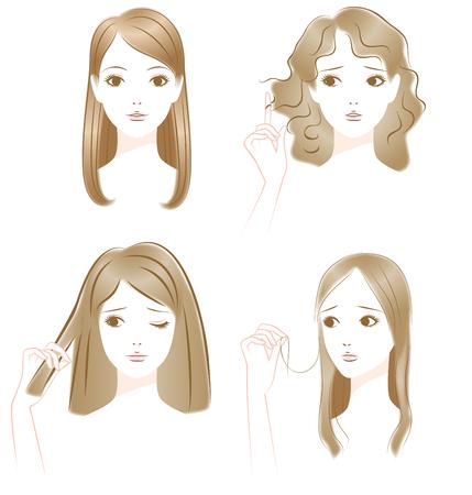 髪のトラブル。巻き毛。それは毛します。薄い髪の毛。  イラスト・ベクター素材