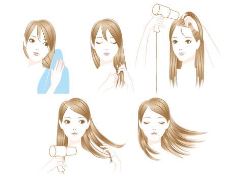 女性が髪を乾燥するには  イラスト・ベクター素材