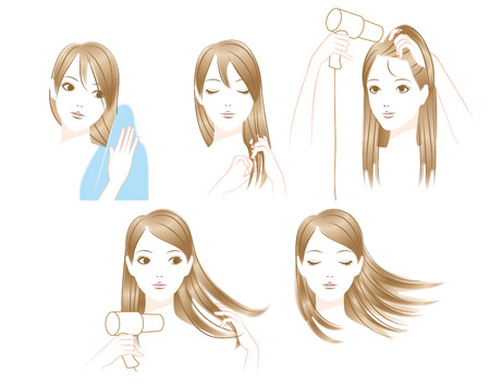 long straight hair: Women to dry the hair
