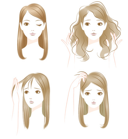 Hair trouble. Greasy hair. Hair spread. The head of itchy.  イラスト・ベクター素材