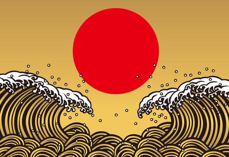 big break: Wave of gold. Sun. Sunrise.