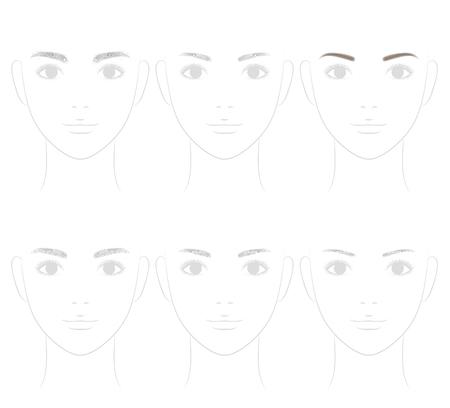 Die Form der Augenbraue. Trimmen. Illustration