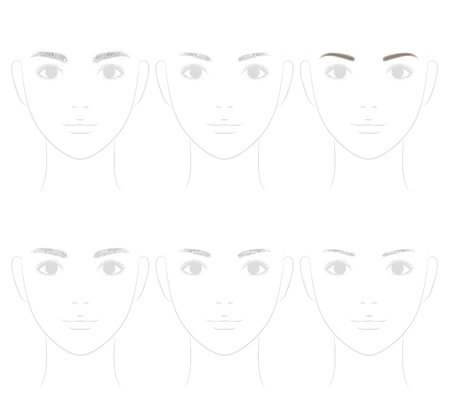 eyebrow trimming: The shape of the eyebrow. Trimming. Illustration