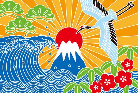 and auspicious: Fuji and the sea. Auspicious picture. Illustration