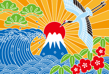 Fuji and the sea. Auspicious picture. Illustration