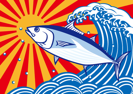 Bonito en waves.tuna.skipjack tonijn.