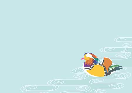 mandarin: Mandarin ducks and water pattern Illustration
