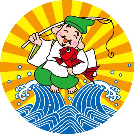 伝統: 漁業の神。日本のスタイルです。  イラスト・ベクター素材