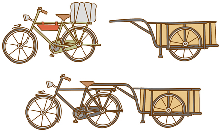 handcart: Retro bicycle. Carts.
