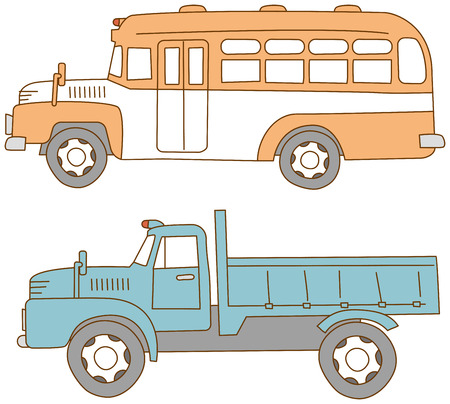 bonnet: Bonnet bus. Bonnet truck. Old cars.