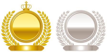 Medal emblem crown Çizim