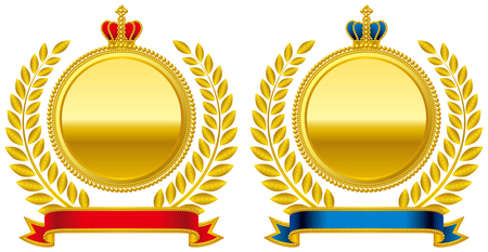 corona emblema Medaglia Vettoriali