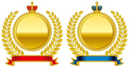 Medal emblem crown Vectores