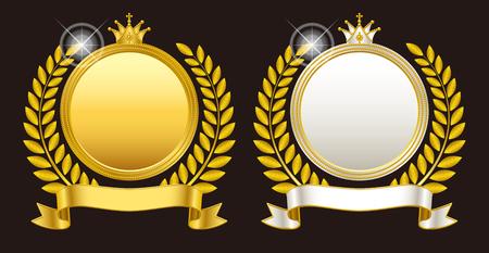 Medal emblem crown  イラスト・ベクター素材