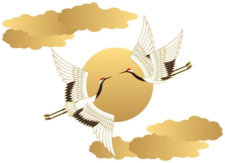 bird: Grúa y del sol. Estilo japones.