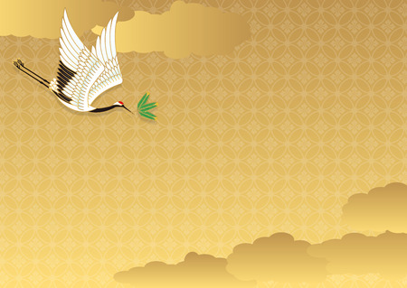 auspicious: Illustration of a flying crane with a pine leaf Illustration