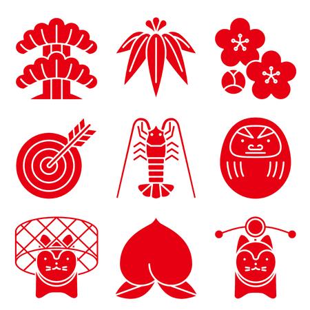 縁起の良い。日本のスタイルです。  イラスト・ベクター素材