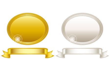 silver frame: Medal. Gold and silver. Frame.
