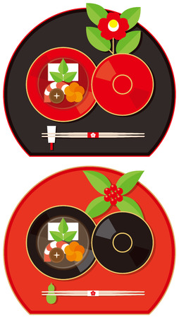 lacquer: Rice cake soup. Japans New Year.