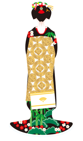 Maiko young apprentice dancer in Japan. Kimono Japans national costume.