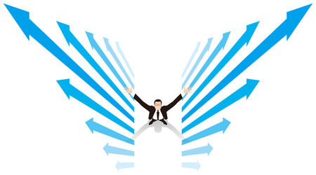 Rising image of businessman. Business image.