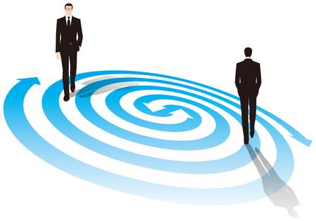 businessman walking: Businessman walking on top of the vortex. Business image. Illustration