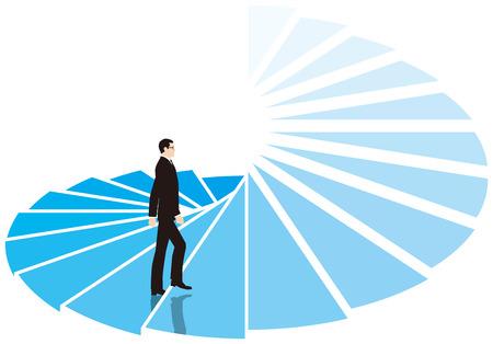 aim: Businessman climb the spiral staircase. Business image.
