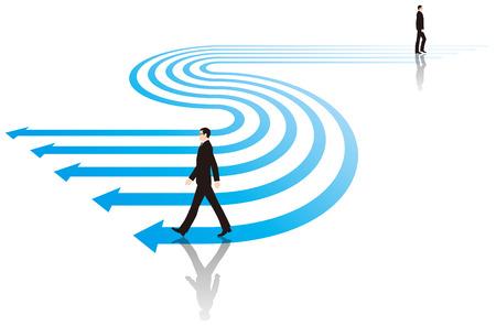 Businessman walking on top of the arrow. Business image. Banco de Imagens - 64846808