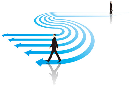 Businessman walking on top of the arrow. Business image. Illustration