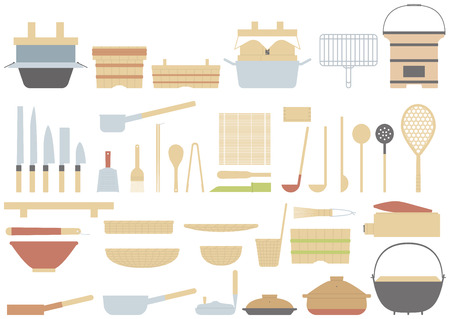 Old fashioned cooking utensils of the Japanese. Traditional culture of Japan. Vetores