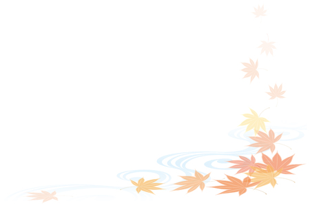 Autumn leaves and water patterns. Autumn scenery of Japan. Vektorové ilustrace