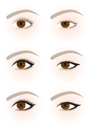 eye makeup: The shape of the eye makeup. Eye line