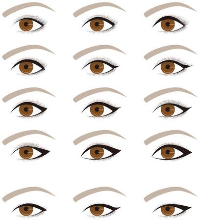 maquillaje de ojos: La forma del maquillaje de los ojos. línea de los ojos